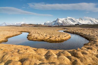 Meander of brook near Fredvang beach, Moskenesoy island, Lofoten islands, Norway