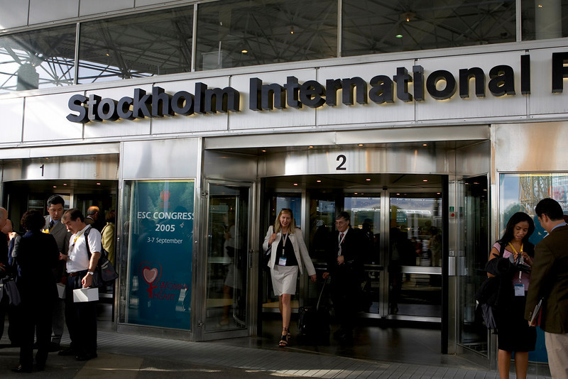 Stockholm, Sweden - ESC 2005 - Enterance to the Stockholm Confernce center here today, Saturday September 3, 2005 at the European Cardiology Society's annual Congress in Stockholm.  Photo by © MMG/Todd Buchanan 2005 Technical Questions: todd@toddbuchanan.com; Phone: 612-226-5154.