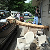 A piece of a neighbor's tree that was hit by lightning overnight slammed into the Mankato home of Ross and Carol Chapman Wednesday. Nearly a foot of the log pushed into one of the bedrooms. Photo by Pat Christman