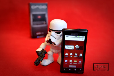 Stormtrooper Project 365: Day 9  Posing with new Motorola Droid from Verizon.    © Copyright m2 Photography - Michael J. Mikkelson 2009. All Rights Reserved. Images can not be used without permission.