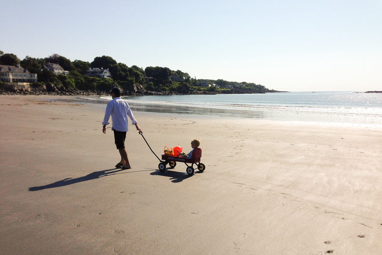 We filled our days with playing on the beach.  Sand was the enemy at first and eventually it became tolerated, never liked.  Low tide involved long parental walks to the water to fill buckets.