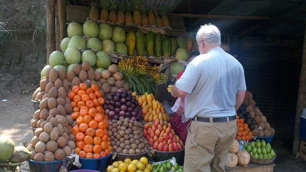 Water melon, tangerines big as your fist, apple bananas little bigger than my thumb, and very ripe small mangoes that need to be eaten quickly... all so flavorful they make your tongue slap your lips right off your face.