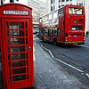 London phone booth and Double Decker bus, London England