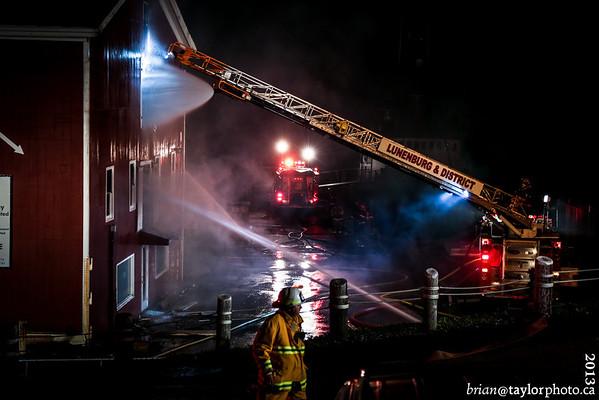 Structure fire on historic Lunenburg waterfront