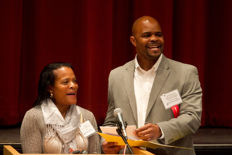 Co-chairs Lise Liest, left, and Rick Holyfied, right, speak at the Commission on Diversity in Independent Schools' 10th annual Student-Adult Diversity Leadership Conference at King on Saturday, April 21, 2012.