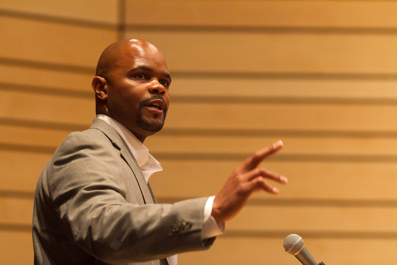 Rick Holyfield speaks at the the Commission on Diversity in Independent Schools' 10th annual Student-Adult Diversity Leadership Conference at King on Saturday, April 21, 2012.