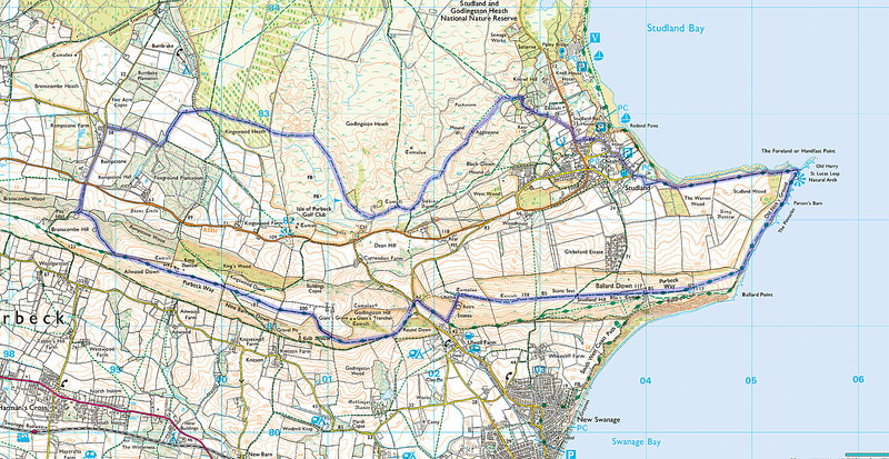 10.65 miles from Studland - walked clockwise.