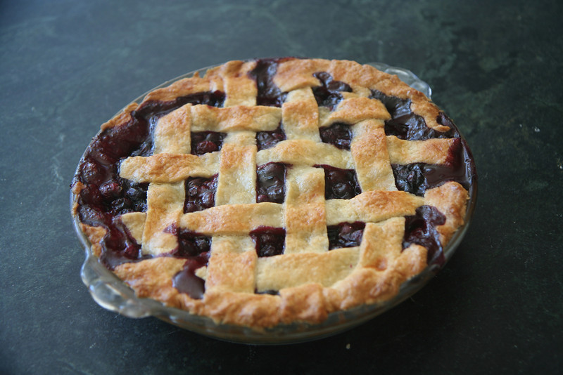 Blueberry pie, from blueberries from our yard.  My first attempt at lattice crust.