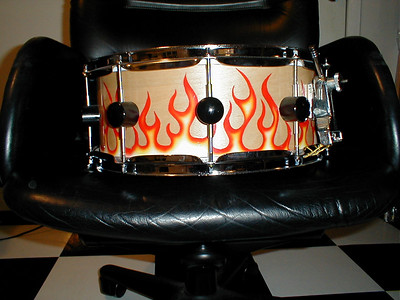 """14 x 8 6 ply Maple """"Flamee"""" snare check out the vintage Ludwig Throw and custom Lugs!!!  Did the painting too.."""
