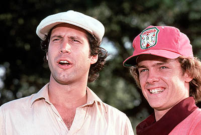 CADDYSHACK -- NBC Theatrical -- Pictured: (l-r) Chevy Chase as Ty Webb, Michael O'Keefe as Danny Noonan -- Warner Bros. photo