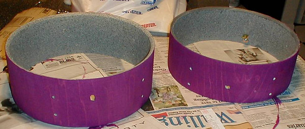 two edrums in the staining process...