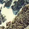 Chris Lloyd on the Golden Stairs, Direct Exum route, Grand Teton.  1986 Summer Solstice