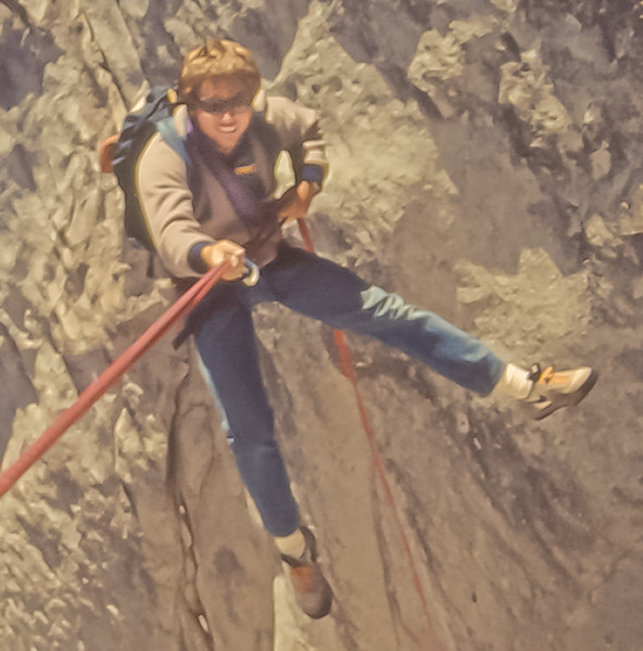 Andy Wright coming off Suicide Wall.  circa 1984