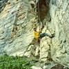 Andy Wright rappeling at Back of the Lake.  1986