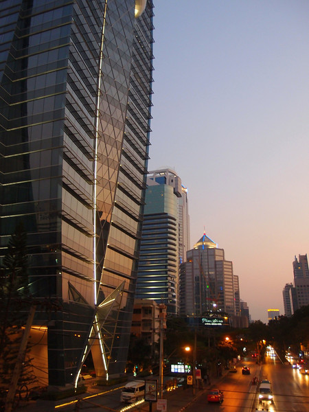 View from the pedestrian overpass (Cnr of Ploenchit and Witthayu) toward Silom Rd at dusk