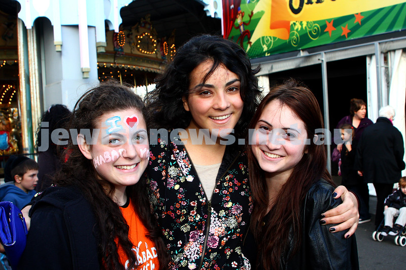 Chabad Youth. Sukkot at Luna Park 2009. From left: Muka Groner, Sara Weizman, Nechama Pilcer. photo: peter haskin