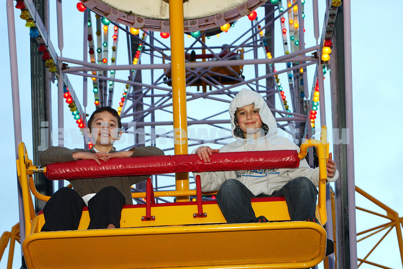 Chabad Youth. Sukkot at Luna Park 2009. Mendy Raitman (left), Eli Mochkin. photo: peter haskin