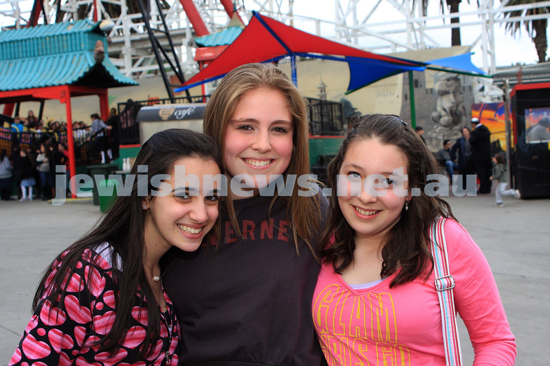 Chabad Youth. Sukkat at Luna Park 2009. From left: Ellie Greenberg, Emily Hinds, Mona Chatskin. Photo: Peter Haskin