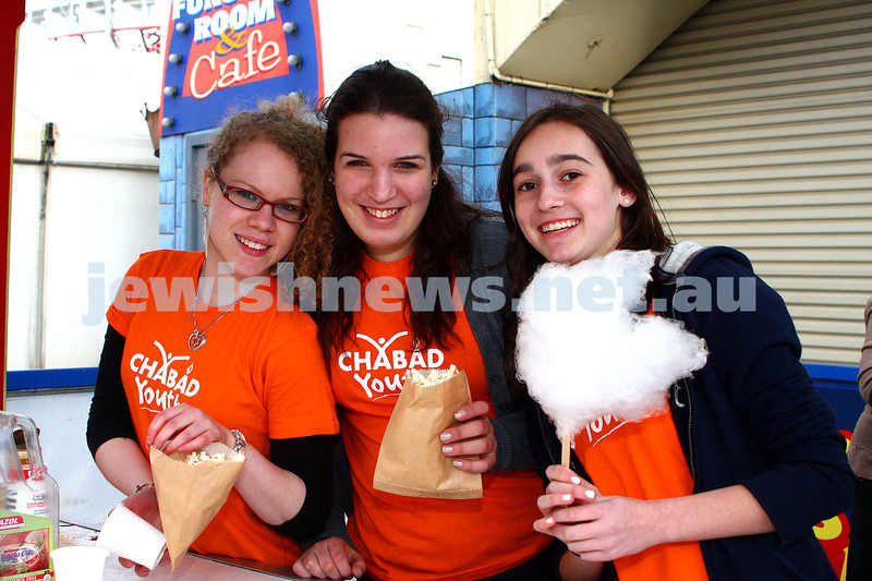 Chabad Youth. Sukkot at Luna Park 2009. From left: Tova Watts, Yardena Schachma, Dasi Piczower. photo: peter haskin
