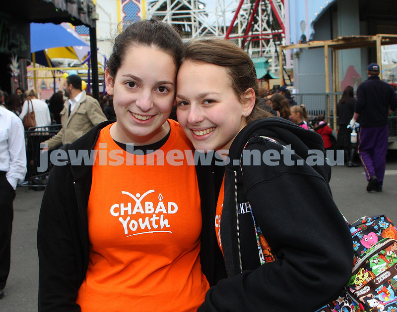 Chabad Youth. Sukkot at Luna Park 2009. Tessy Bacher (left), Rikki Broner. photo: peter haskin