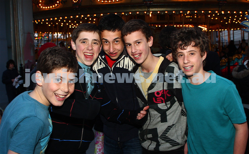 Chabad Youth. Sukkot at Luna Park 2009. From left: Eli Kaltmann, Gidon Waller, Ben Menahem, Joel Chester, Jordan Swire. photo: peter haskin