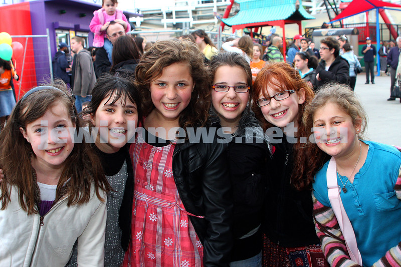 Chabad Youth. Sukkot at Luna Park 2009. From left: Miriam Kornhauser, Chaya Gutnick, Lele Kaltmann, Nechama Rapp, Bassie Raitman, Chavi Block. photo: peter haskin