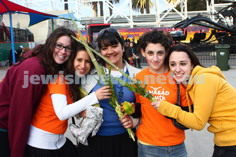 Chabad Youth. Sukkot at Luna Park 2009. From left: Penina Forta, Moshki Meyers, Liron Yitshaki, Kaila Phillips, Mushka Sparter. photo: peter haskin