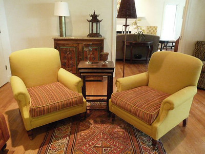 Pair of custom upholstered arm chairs, probably Lee Industries.