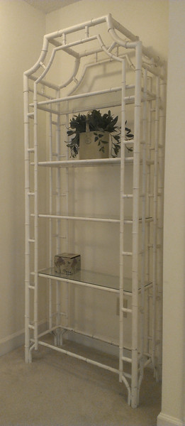"Metal ""rattan look"" etegere with glass shelves"
