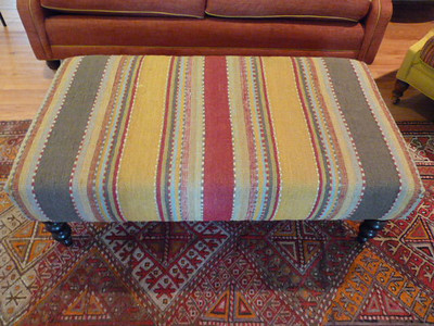 Lee Industries Ottoman with Turkish rug feel wool fabric.