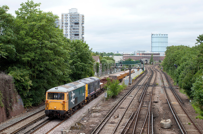 73207 & 73213 drift slowly through Wandsworth Road with 6G14 09.40 Hoo Junction-Herne Hill Engineers train. 25.6.11