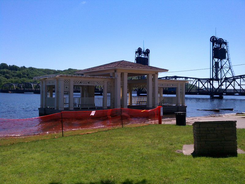 Flooded Stillwater. Not even a small boat can get under the bridge.
