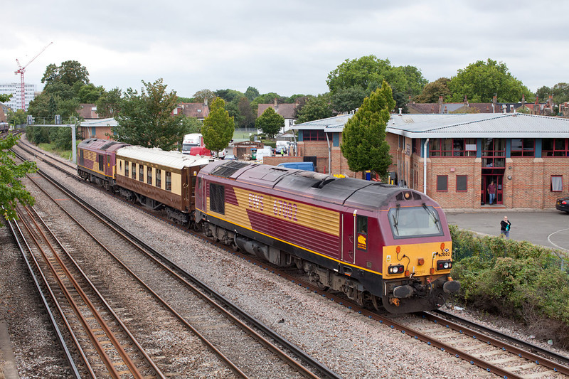 67002 T&T with 67028 on the approach to St Margarets with the 5Z59 Wimbledon-Stewarts Lane VSOE single coach stock move. The coach had been at Wimbledon for tyre turning.16.8.11