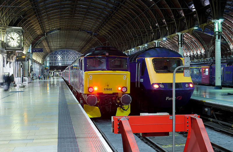 57602 sits at the blocks at Paddington station after arriving with the 5C99 Night sleeper ECS from Old Oak Commom on 12.6.11