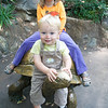 Eve and Graham on the turtle statue at the MN Zoo