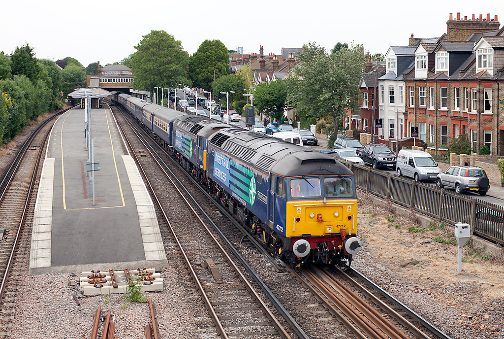 On the 5.6.11, 47712 & 47501 pass through St Margarets with the Edinburgh-Southampton Cruise Saver Express.