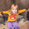 Eve with Penguin statues at the MN Zoo
