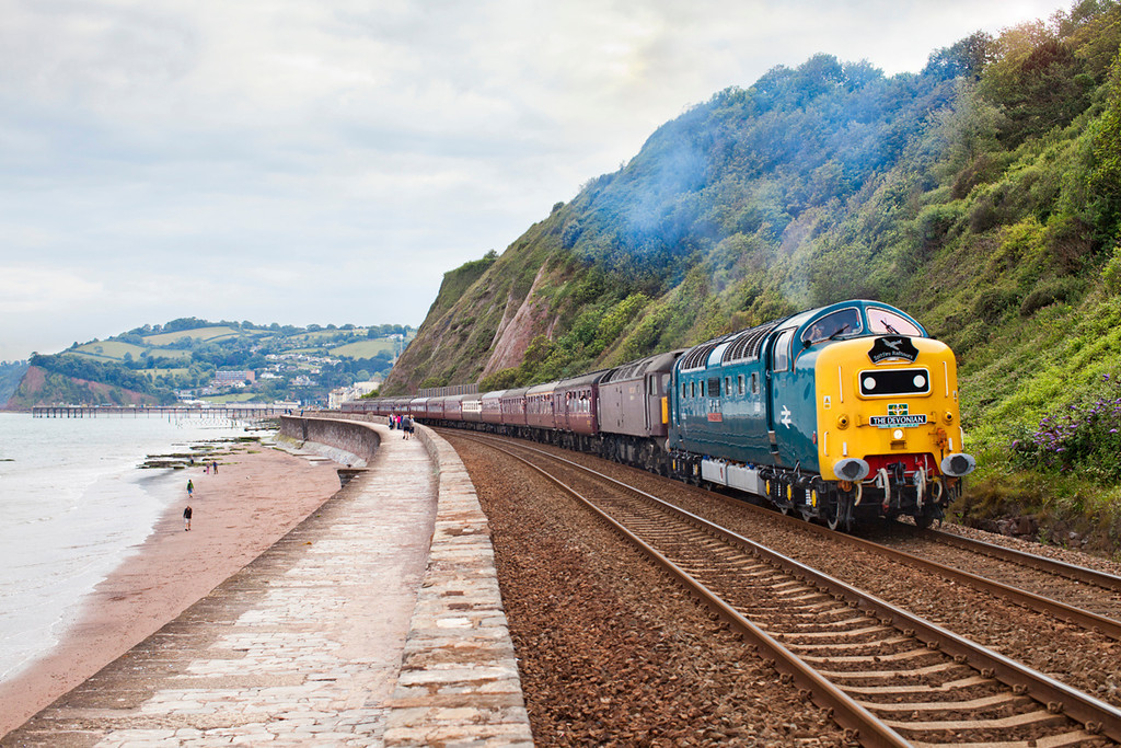 55022 'Royal scots Grey' leads 47804 along the seawall at Teignmouth with the 1Z34 17.25 Paignton-Doncaster Spitfire railtours 'The Devonian' charter
