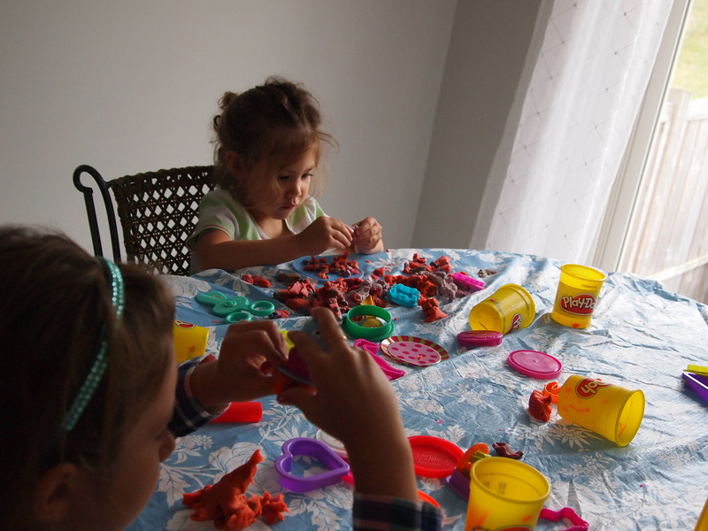 Intense playdough playing