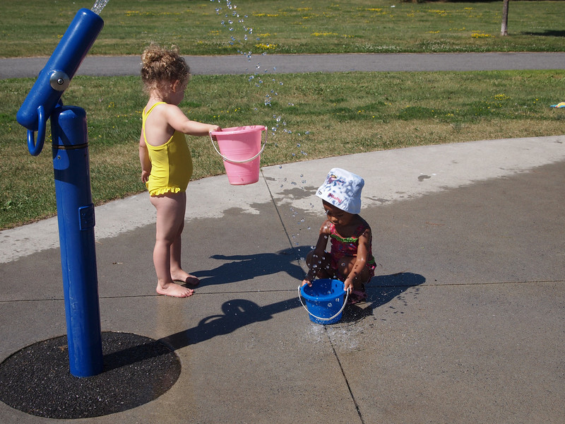 Trying to fill a bucket without getting wet