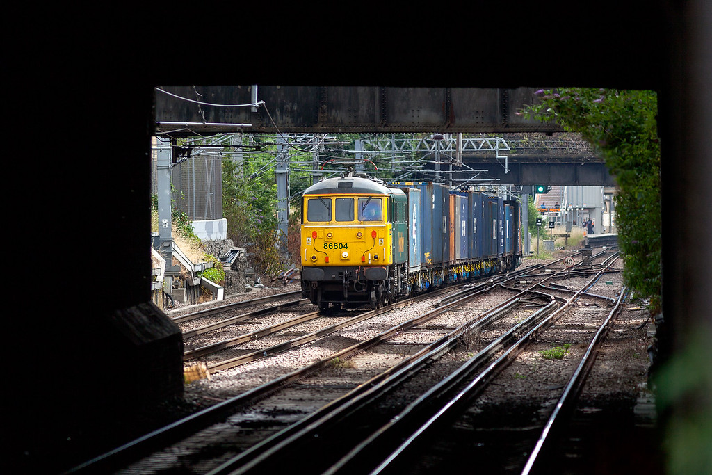 Unusually running on it's own tather than double-headed, 86604 approaches Highbury & Islington with the 4M51 09.40 Tilbury-Daventry Freightliner service. Canon EOS 5DMK2 + Canon 300 F4 lens. <br /> 1/400 @ F4.5 250ASA. 29.7.13