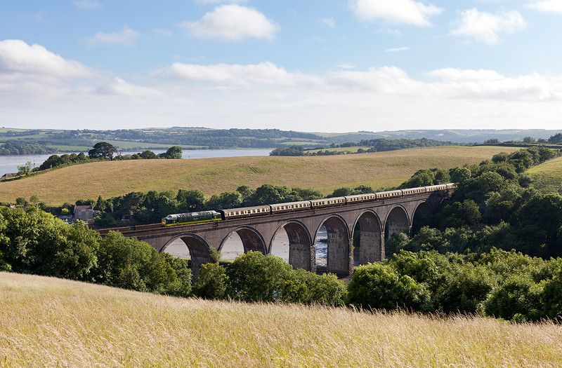 Sounding wonderful! On a beautiful summer saturday evening 55009 'Alycidon' crosses Forder viaduct close to the river Tamar with Pathfinders 1Z55 16.11 Penzance-Tame Bridge Parkway Mazey Day Cornishman.29.6.13