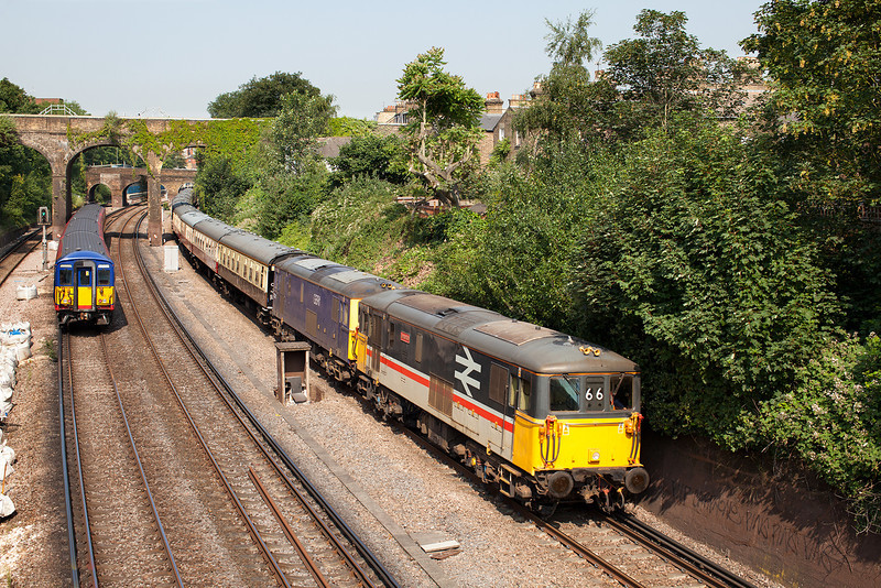 Other than the plate layers hut and the endless white bags of ballast, this could be a good location for railway photography! 73205&73213 head the 07.06 5Z66 Eastleigh-Acton lane GBRF ecs through Putney.5.7.13