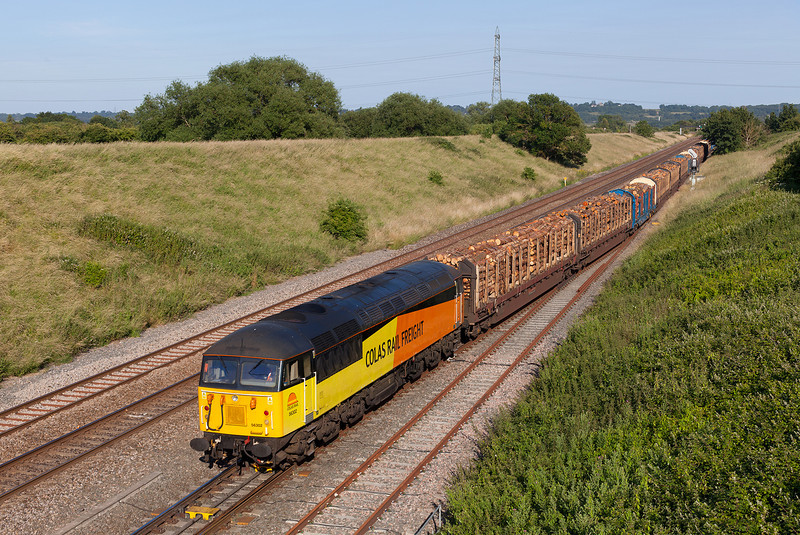 56302 cautiously leaves Pilning loop on a sweltering 11th July with the 14.53 6Z53 Teigngrace-Chirk loaded logs train.
