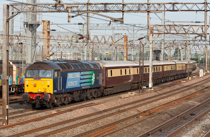 """At 18.51, 47501 """"Craftsman' departs from it's booked stop in Wembley Yard with the 18.21 Kensington Olympia-Manchester Victoria Northern Belle special. 12.7.13"""