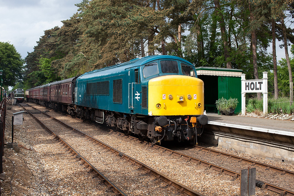 45133 sits in the sun at Holt after arriving with the 15.12 service from Sherringham during the North Norfolk Railway's 2013 excellent diesel gala.14.6.13