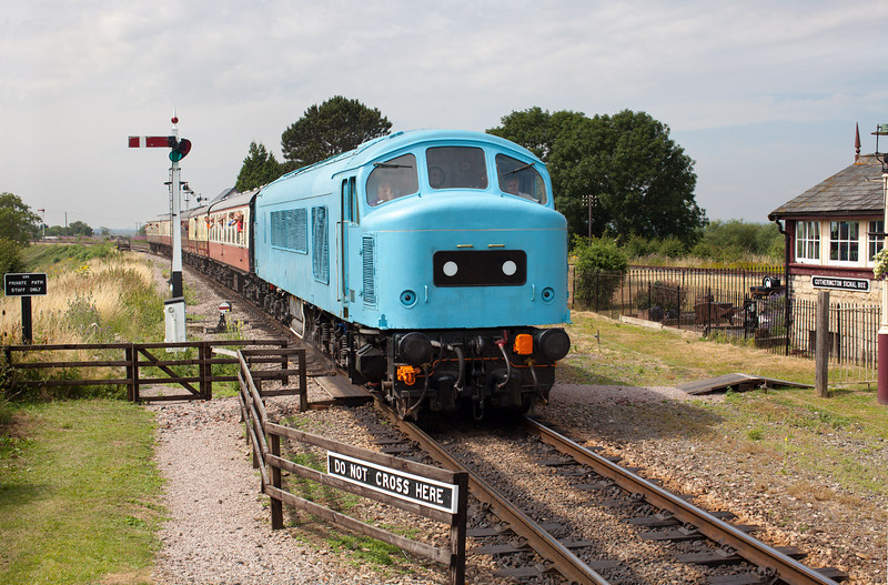 In ghostly blue undercoat 45149 approaches Gotherington with the 11.30 Cheltenham Racecourse-Laverton service during the excellent G&WR Diesel Gala. 27.7.13