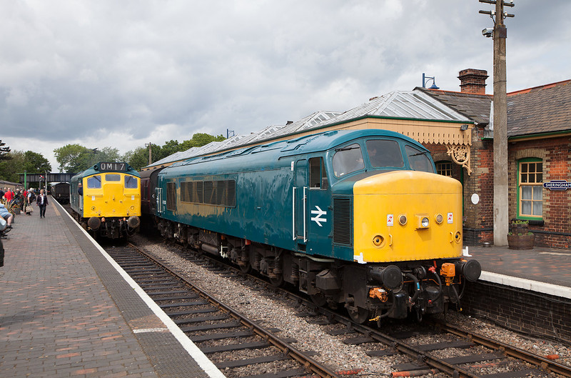 A 'peak' in and 'rat' out 2013 style, perfection! 45133 waits at Sherringham after arriving with the 11.19 Holt-Sherringham service during the lines excellent 2013 diesel gala. Former laira machine 25057 waits to couple up to the 12.09 Sherringham-Holt service.14.6.13