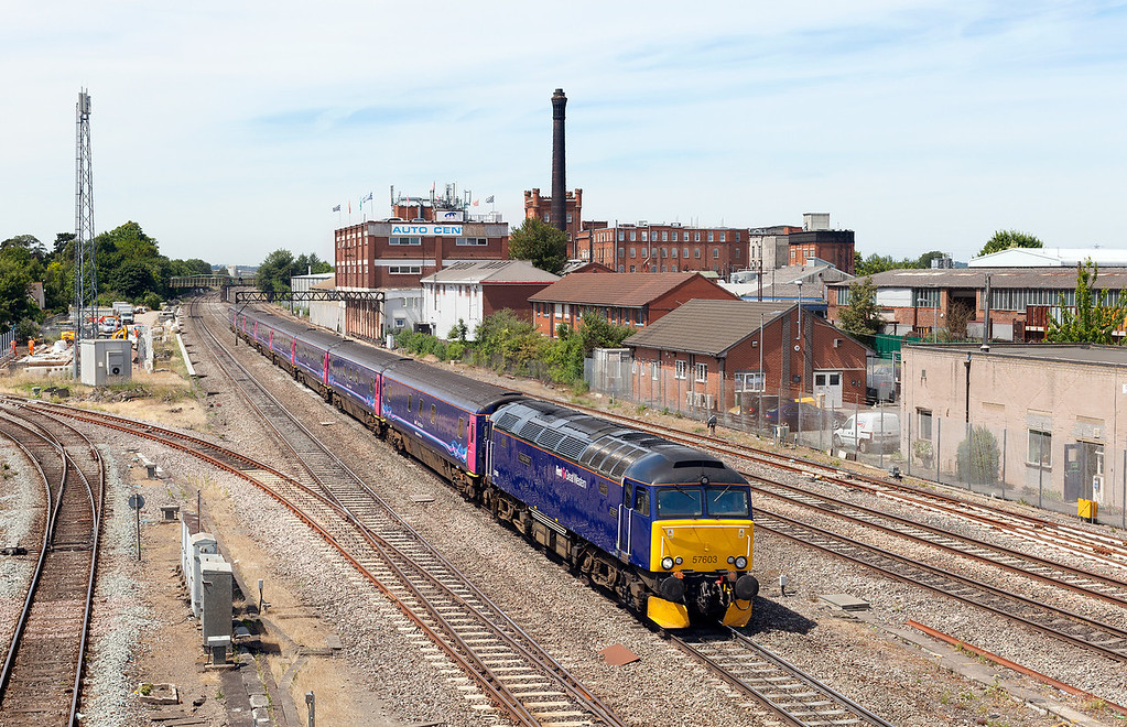 On one of the hottest days of the year, 57603 flies through Slough with the 5A40 07.55 Penzance-Paddington 'sleeper' ECS. The reason for the daylight run of the sleeper was due to the set breaking down the night before in Penzance. 15.7.13