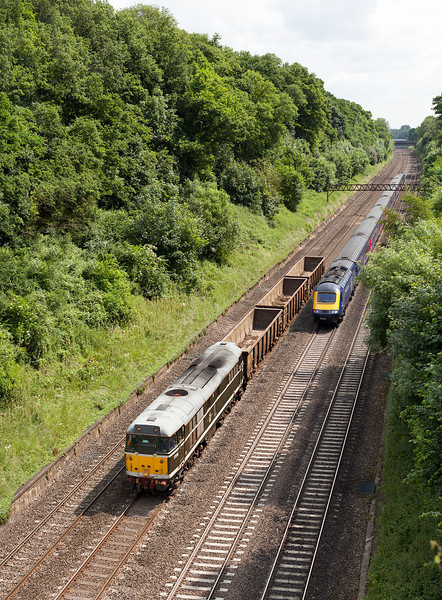 Nearly Snookered! 31190 heads down the relief line in Sonning Cutting with the 6Z31 09.30 Willesden Euroterminal- Eastleigh wagon move.25.6.13